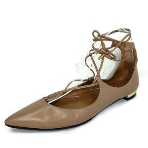 AQUAZZURA Christy Patent Leather Pointed Toe Flats